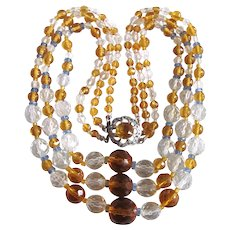 Little Creations Rock Crystal and Bohemian Citrine Glass  3 strand Graduated Necklace