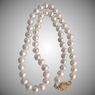 Little Creations April Birthstone 18kt GP Moonstone Cabochon 7.5mm Freshwater Cultured Pearls 17 1/2 inch Necklace