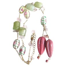 Vintage Carved Rhodochrosite and Carved Serpentine with Glass Flower/Rose Quartz Beads on GP Chain Necklace