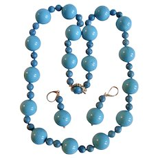 Little Creations 14k Stabilized Turquoise Large Scale 18mm Bead Necklace & Earrings