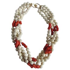 Vintage Galalith Bead Torsade 4 Strand Faux Coral GP Necklace