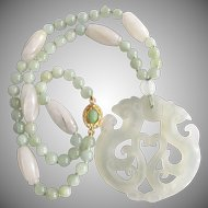 Little Creations 18kt GP Carved White Green Jadeite Beads and Pendant