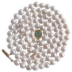 Little Creations 18kt GP Chalcedony Cabochon Cultured Freshwater Pearls 7mm Necklace 32 Inch