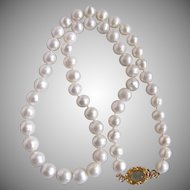 Little Creations 18kt GP Genuine Aquamarine Cabochon Cultured Freshwater Pearls 7mm Necklace 17 Inch