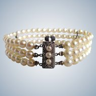 Vintage A Plus Fine Quality Japanese Akoya Cultured Pearl Silver 850 Tested Clasp 3 Strand Bracelet