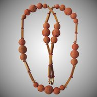 Vintage Unsigned Graduated Carved Wooden Flower Bead GP Necklace