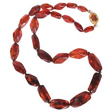 Vintage 18kt GP Natural Clarified Reformed Amber Graduated Facetted Polygon Necklace