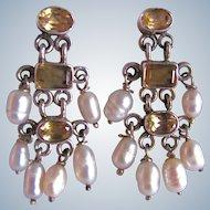 Vintage Citrine Gemstones with Cultured Freshwater Pearls Sterling Etruscan Style Chandelier Pierced Earrings