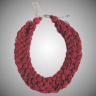 Vintage Laura Ashley Glass Red Seed bead Braided Necklace