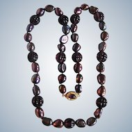 Little Creations 18kt GP Baroque Peacock Color Treated Freshwater Cultured Pearls/ Fluted Glass Necklace
