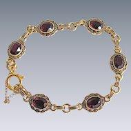Vintage GP Garnet Glass Facetted Empire Style with Enamel Bracelet