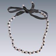 Vintage Cultured Freshwater Pearl Strung on Black Ribbon Choker Necklace
