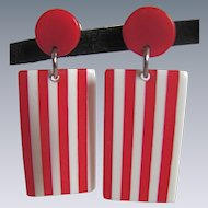 Vintage Lucite Laminated Candy Cane Geometric Pierced Earrings