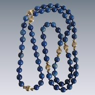 Vintage Sodalite GP Spacers Silk Hand Knotted Eternity 24 Inch 6mm Necklace