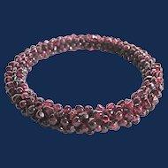 Vintage Genuine Garnet Woven Bangle Bracelet New Old Stock