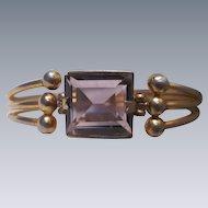Vintage Amethyst Paste Square Cut 18mm Modernist Brass Bracelet