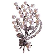 Vintage Fine A Plus Quality Cultured Pearl Floral Spray Silver 850 Brooch