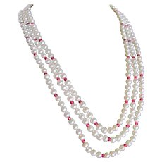 Little Creations 14kt Ruby AA Fine Quality Cultured Chinese Pearl Triple Strand Necklace