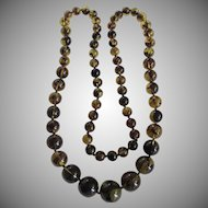 Vintage Baltic Rare Olive Green Reconstituted Heat Treated Natural Amber Graduated Necklace 110.30 Grams