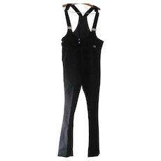 Vintage Unisex Made in Japan SKYR Thick Jersey Knit Black Ski Pants with Adjustable Suspenders