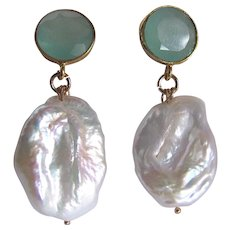 Little Creations GP Aqua Chalcedony Facetted Gemstone with Baroque Shaped Cultured Pearls Pierced Earrings