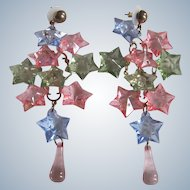 Vintage MASSIVE 4 Inch Lucite Pastel Stars Cascade Chandelier Brass Pierced Earrings