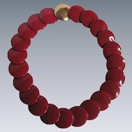 Vintage Signed Trifari Lipstick Red Lucite Disc Necklace