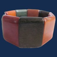 Vintage Lacquered Dyed Wood Link Stretch Bracelet