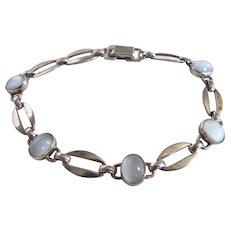 Vintage Signed WRE Sterling Silver Moonstone Link Bracelet