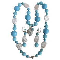 Little Creations Freeform Freshwater & Blister Cultured Pearls / Enhanced Turquoise Pendant Necklace and SP Earrings
