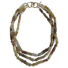 Vintage GP Kenneth Lane Signed 3 strand Agate & Quartz Freeform Beads Necklace