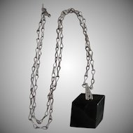Art Deco Black Lucite Geometric 3D Shaped Pendant on Silver Plate Hand Made Chain