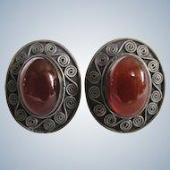Vintage Sterling Silver Carnelian Cabochon Pierced Earrings