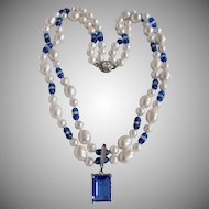 Little Creations Cultured Pearls with Venetian Blue Bead Necklace and Blue Emerald Cut CZ Enhancer