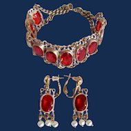 Vintage GP Bohemian Style Simulated Ruby Paste Gem Bracelet and Omega Pierced Earrings with Cultured Pearls