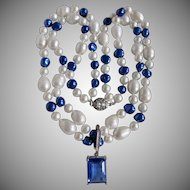 Little Creations Cultured Pearls Blue Emerald Cut CZ Enhancer Double Strand Necklace