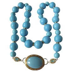 Little Creations Turquoise Cabochon Brooch 18kt GP Clasps with Chalcedony Cabochons with Huge Enhanced Turquoise Bead Necklace
