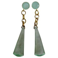 Little Creations GP Aqua Chalcedony Facetted Cabochon Gem and Facetted Lucite Long Drop Geometric Shape Pierced Earrings