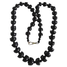 Antique Whitby Jet Tulip Shaped Graduated Beads and Albert Closure Necklace