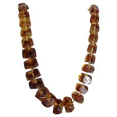 Vintage Genuine Natural Baltic Reformed Amber Graduated Endless 28 Inch Necklace 91 Grams
