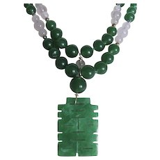 Little Creations 18kt GP Jadeite Pendant with Graduated Green Glass and Rose Quartz Jadeite Cabochon Double Strand Necklace