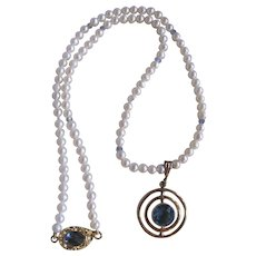 Little Creations 18kt GP Cultured Freshwater Pearl A Quality Necklace with London Blue Topaz GP Circle Pendent