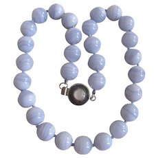 LC Blue Lace Agate 14mm 20 Inch Necklace with Sterling Silver Moonstone Clasp