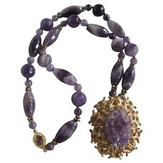 Little Creations 18kt GP Clasp Geode Amethyst Crystal Pendant Brooch with Amethyst All sorts Beads Necklace