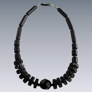 Antique Whitby Jet Dodecahedron & Cog & Rod Bead Graduated Necklace