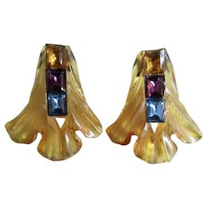 Upcycled Carved Bakelite Prystal Huge Converted Dress Clips with Rhinestone Baguettes GP Omega Pierced Earrings