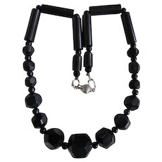Antique Whitby Jet Graduated Beads SP Ball Closure Necklace