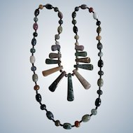 Vintage Multi Coloured Agate Graduated Pendants Link Necklace