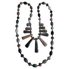 Vintage Multi Coloured Agate Graduated Pendants Link Necklace