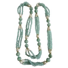 VINTAGE Triple Strand Dyed Green Quartz with Freshwater Cultured Pearls Festoon GP Endless Necklace